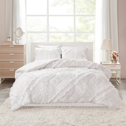 Intelligent Design Karlie Solid Coverlet Set With Tufted Diamond Ruffles 3-Color Option