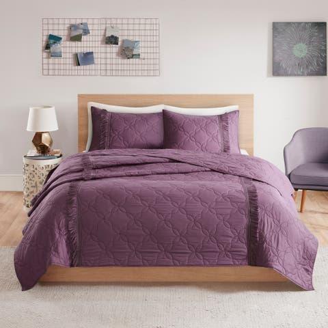 Intelligent Design Shira Solid Coverlet Set with Fringe