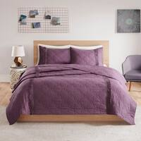 Intelligent Design Shira Solid Coverlet Set With Fringe 3-Color Option