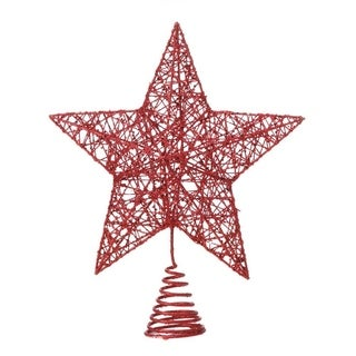 Modern Metal Star Design Christmas Tree Topper with Glittery Finish - Red - N/A