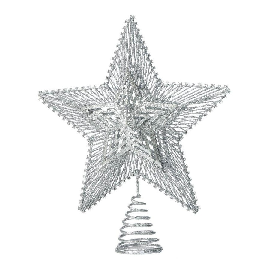 Modern Metal Geometric Star Design Christmas Tree Topper With Glittery Finish Silver Overstock 25710118