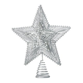 Modern Metal Geometric Star Design Christmas Tree Topper with Glittery Finish - Silver - N/A