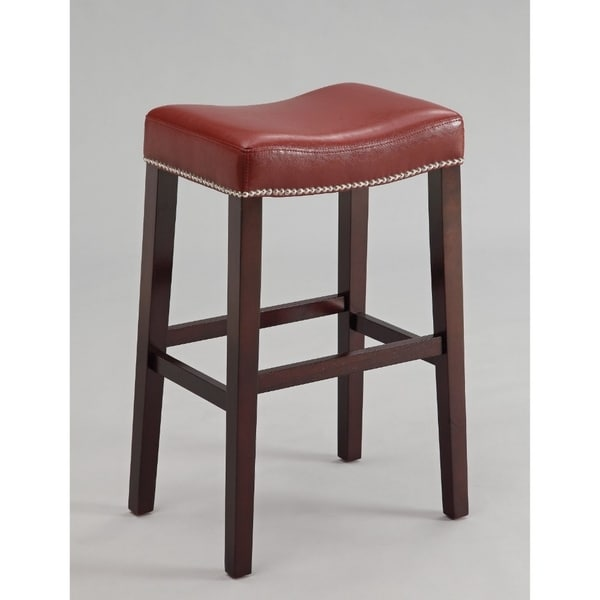Polyurethane Upholstered Wooden Bar Stool Set Of Two Red And Brown