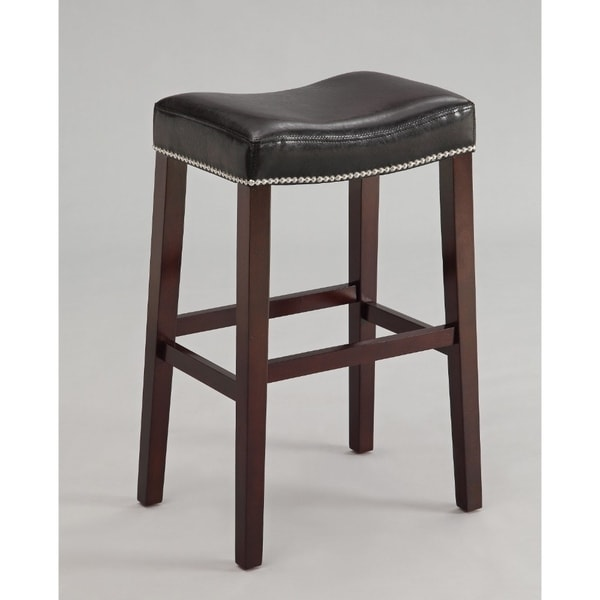 Polyurethane Upholstered Wooden Bar Stool Set Of Two Black And Brown