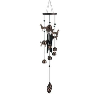 """Summerfield Terrace 26"""" Bronze Dog Silhouettes and Bells Decorative Wind Chimes"""