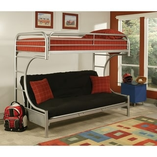 Metal Twin over Full Size Futon Bunk Bed, Silver