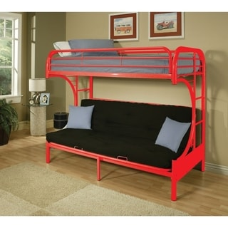 Metal Twin over Full Size Futon Bunk Bed , Red