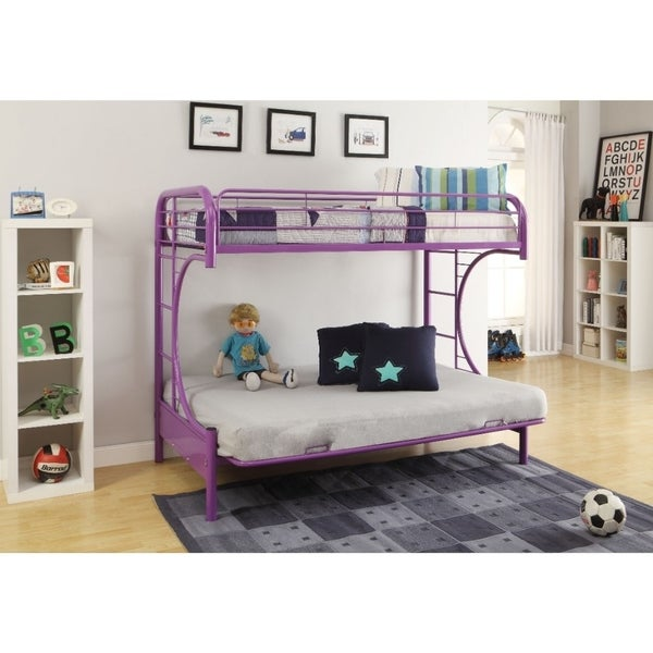 Metal Twin over Full Size Futon Bunk Bed, Purple