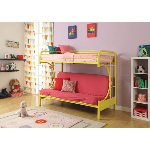 Metal Twin Over Full Size Futon Bunk Bed Yellow
