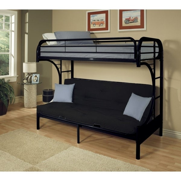 Shop Metal Twin Over Full Size Futon Bunk Bed Black On Sale