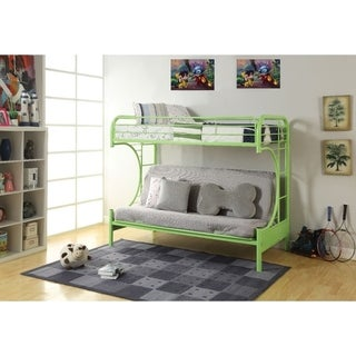 Metal Twin over Full Size Futon Bunk Bed, Green