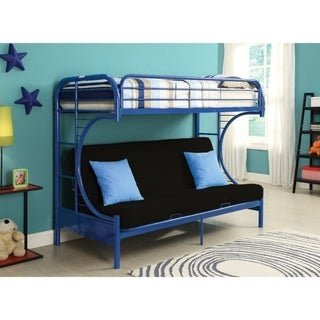 Metal Twin over Full Size Futon Bunk Bed , Navy Blue