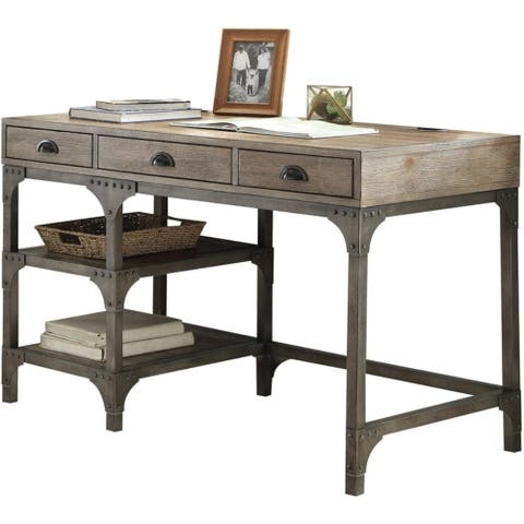 Wood And Metal Desk With Three Drawers And Two Side Shelves, Oak Brown And Gray