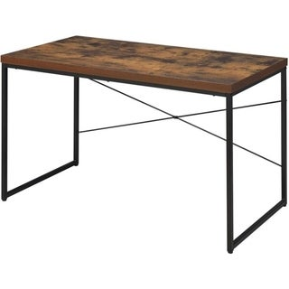 Rectangular Wooden Desk With Metal Base, Weathered Oak Brown And Black