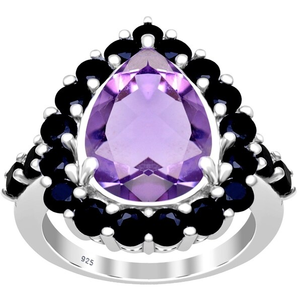 Amethyst, Spinel Sterling Silver Pear Cluster Ring by Essence Jewelry. Opens flyout.