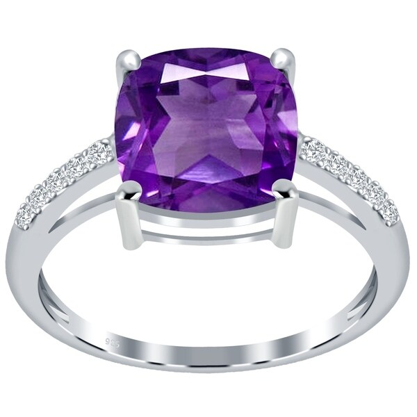 White Topaz 925 Sterling Silver Rings Silver Jewelry Natural Amethyst