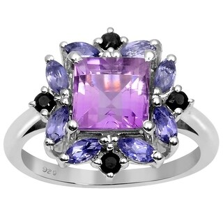 Essence Jewelry 925 Sterling Silver 2 5/9 Carat Amethyst, Iolite and Sapphire Ring