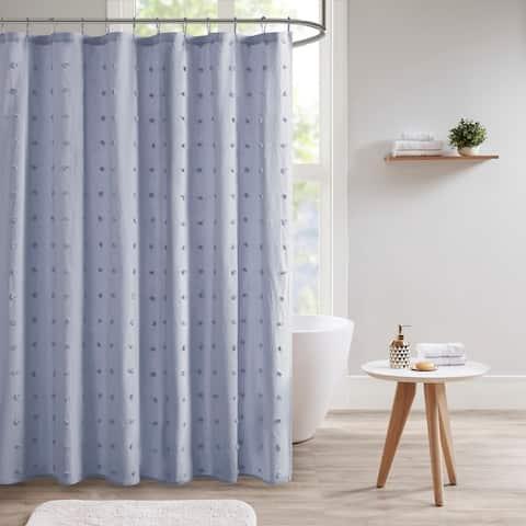Urban Habitat Maize Cotton Yarn Dyed Jacquard Pom Pom Shower Curtain 4-Color Option