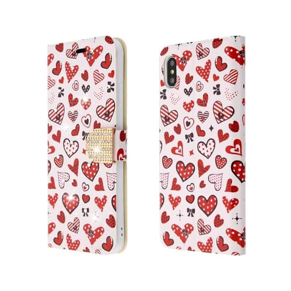 Insten Pink Red Heart Cluster Myjacket Leather Case Cover With Stand Wallet Flap Pouch Diamond For Apple Iphone Xs Max