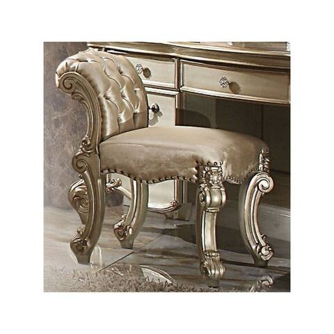 Fabric Upholstered Wooden Vanity Stool with Tufted Back, Gold & Bone White