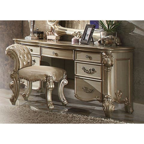 Wooden Vanity Desk with Scrolled Poster Legs, Patina Gold & Bone White
