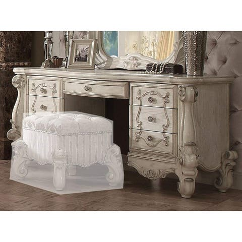 Traditional Style Wooden Vanity Desk with Seven Drawers, Bone White