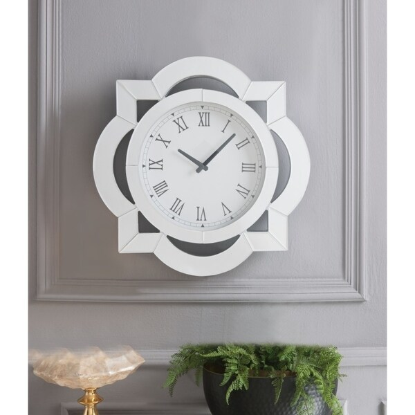 dc34f4fc9a Shop Wood & Mirror Round Analog Wall Clock, White - On Sale - Free Shipping  Today - Overstock - 25711904