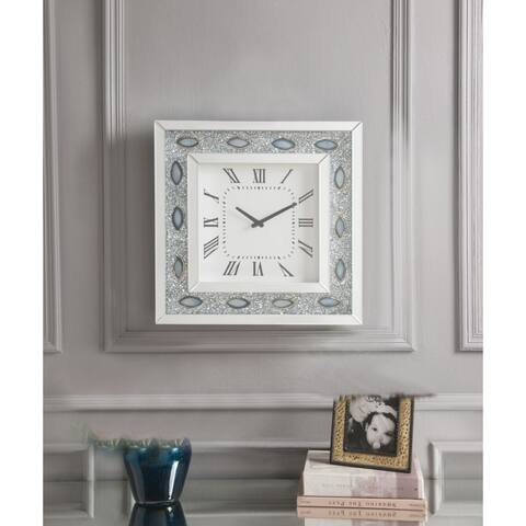 Wood & Mirror Square Analog Wall Clock, White