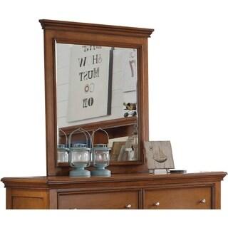 Contemporary Style Wood Rectangular Mirror, Cherry Oak Brown