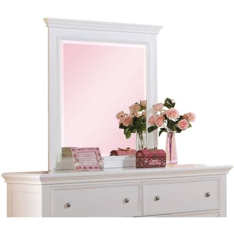 Contemporary Style Wood Rectangular Mirror, White - clear