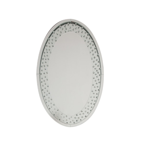 Accent Wall Mirror with Round Crystal Inserts - Clear