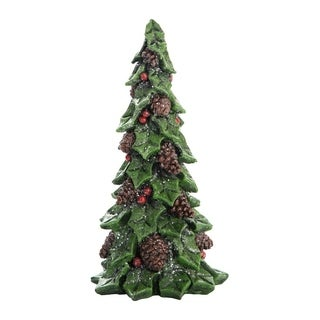 Transpac Imports Tabletop Decorative Holly Christmas Tree Figurine - N/A