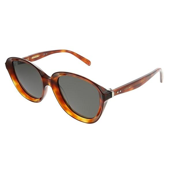4d3cf866ee3 Celine Oval CL 41448 Ava 086 Women Dark Havana Frame Grey Lens Sunglasses