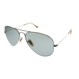 Ray-Ban Aviator RB 3025 Classic Aviator 9065I5 Unisex Silver Frame Blue Photochromic Evolve Lens Sunglasses