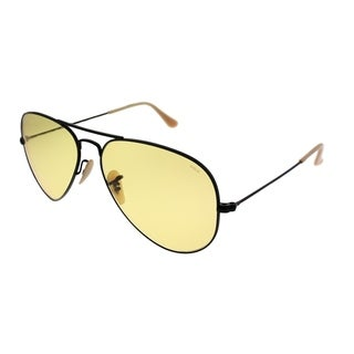 Ray-Ban Aviator RB 3025 Classic Aviator 90664A Unisex Black Frame Yellow Photochromic Evolve Lens Sunglasses
