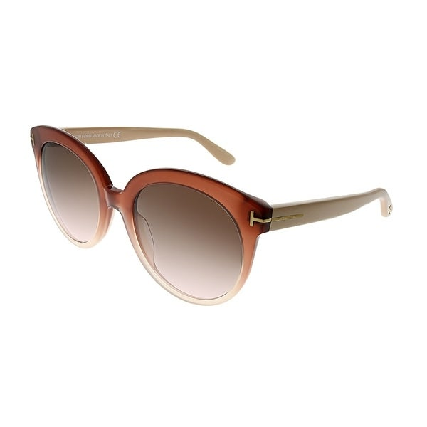 3ae88c6eb01a6 Tom Ford Round TF 429 Monica 429 Women Pink Gradient Frame Grey Gradient  Lens Sunglasses