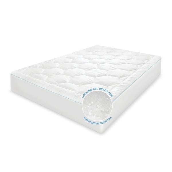 SwissLux Cool Fusion Memory Fiber and Cooling Gel Beads Mattress Pad. Opens flyout.