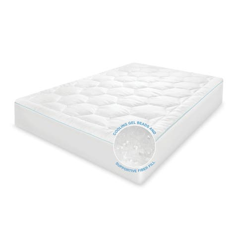 SwissLux Cool Fusion Memory Fiber and Cooling Gel Beads Mattress Pad