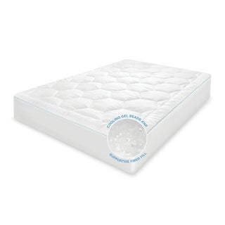 Cool Fusion Memory Fiber and Cooling Gel Beads Mattress Pad - White