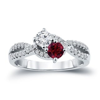 14k Gold Round 2-stone 1/2ct Red Ruby and 3/4ct TDW Diamond Engagement Ring by Auriya