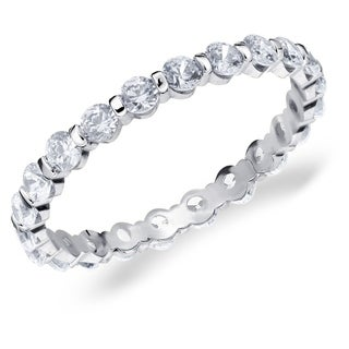 1CT Bar Set Lab Grown Diamond Eternity Ring in White Gold, E-F Color/VS Clarity