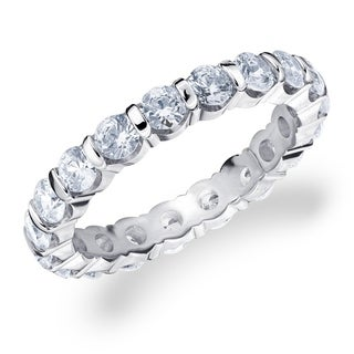 2CT Bar Set Lab Created Diamond Eternity Ring in White Gold, E-F Color/VS Clarity