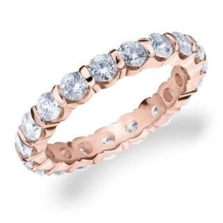 2CT Bar Set Lab Created Diamond Eternity Ring In Rose Gold E F VS