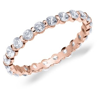 1CT Bar Set Lab Grown Diamond Eternity Ring in Rose Gold, E-F Color/VS Clarity
