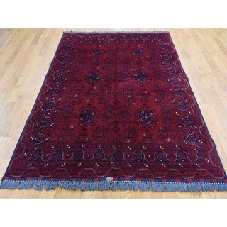 """Hand Knotted Red Tribal & Geometric with Wool Oriental Rug (4'10"""" x 6'7"""") - 4'10"""" x 6'7"""""""