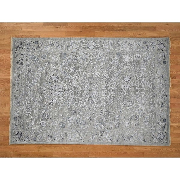 """Hand Knotted Grey Modern & Contemporary with Wool & Silk Oriental Rug (6'1"""" x 9') - 6'1"""" x 9'"""
