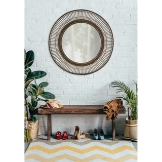 "Kate and Laurel Kayanna Rattan Round Wall Mirror - Brown - 36.6"" diameter"