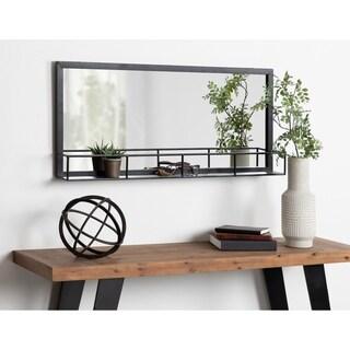 Kate and Laurel Jackson Black Metal Frame 18 x 40-inch Mirror with Shelf