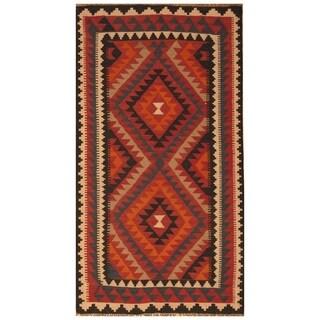 Handmade One-of-a-Kind Mimana Wool Kilim (Afghanistan) - 3'5 x 6'4