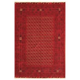 Handmade Herat Oriental Afghan Hand-knotted Mouri Turkoman Wool Rug (6'3 x 9'8) - 6'3 x 9'8